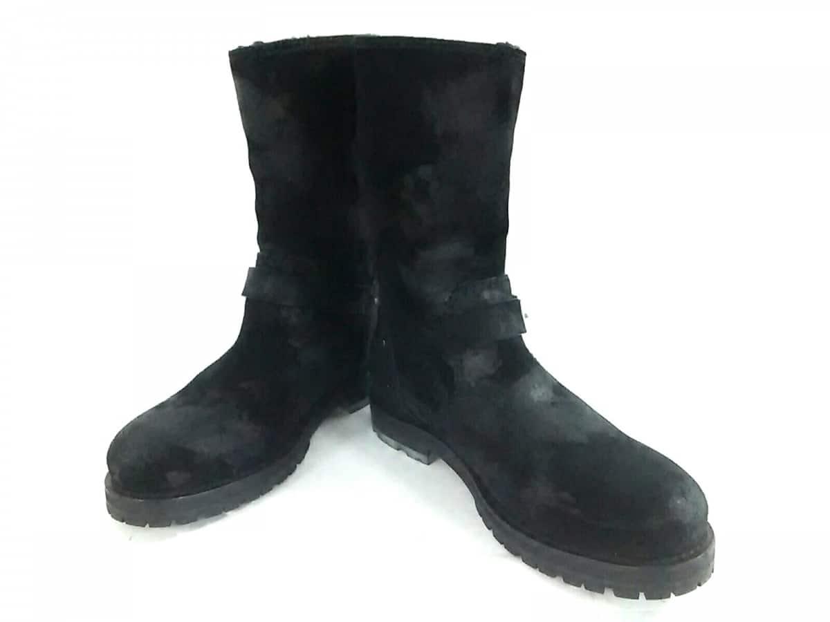 JIMMY CHOO(ジミーチュウ) ブーツ 39 メンズ 黒 エンジニア/ヴィンテージ加工 スエード【中古】