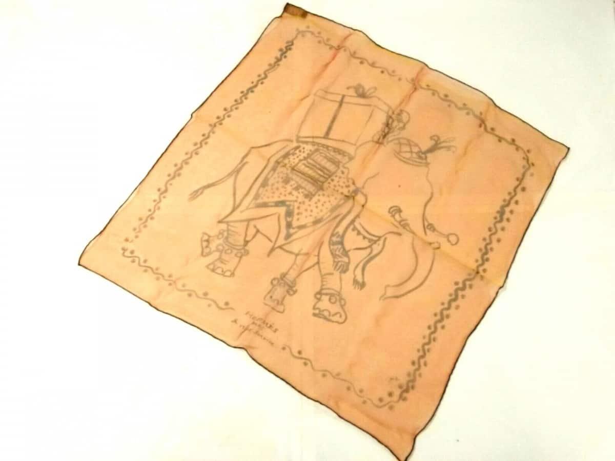 HERMES(エルメス) スカーフ美品■ プチカレ オレンジ×黒 ゾウ/シースルー【中古】