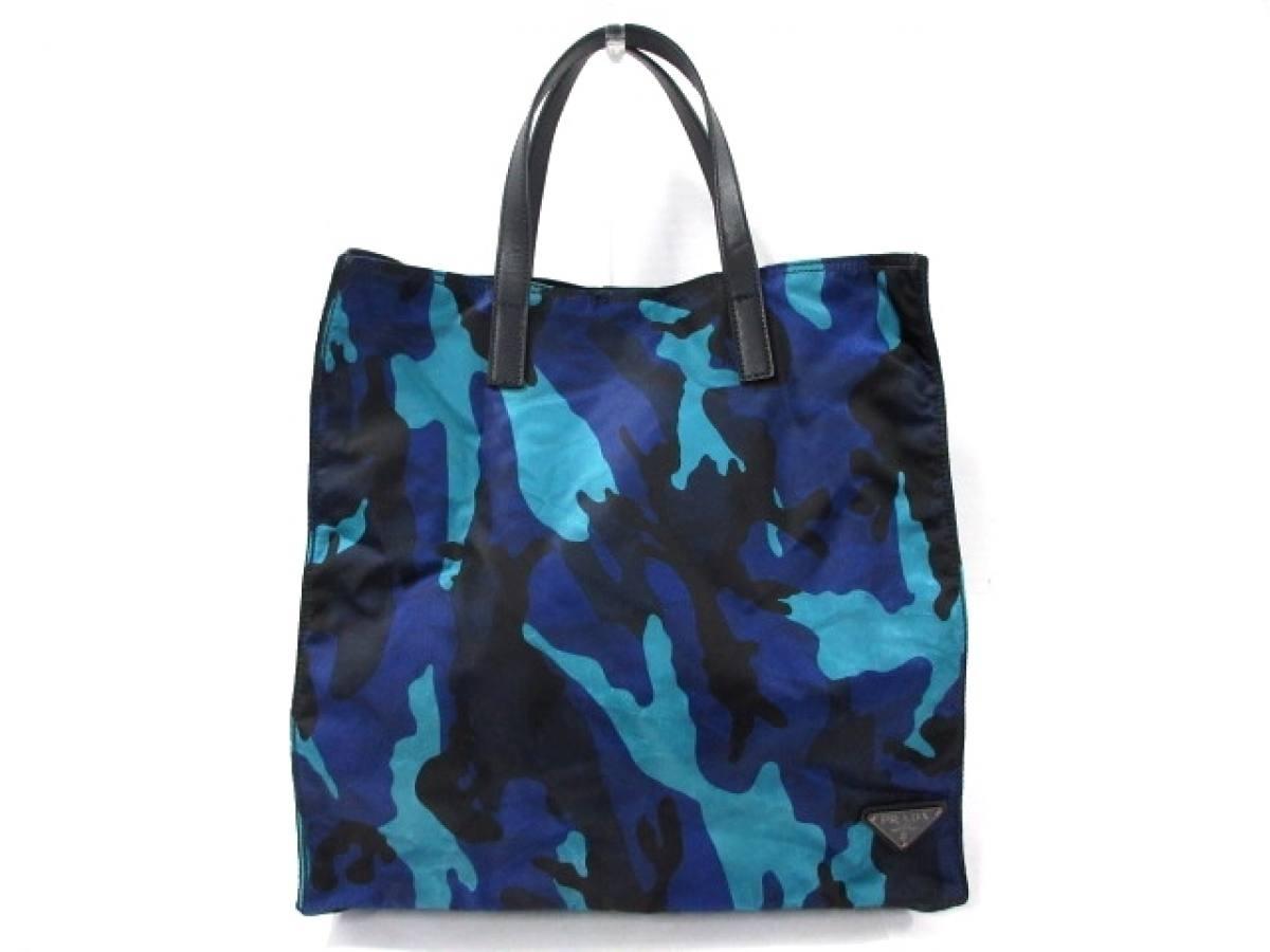 PRADA(プラダ) トートバッグ美品■ - ブルー×ライトブルー×黒 迷彩柄 ナイロン【中古】