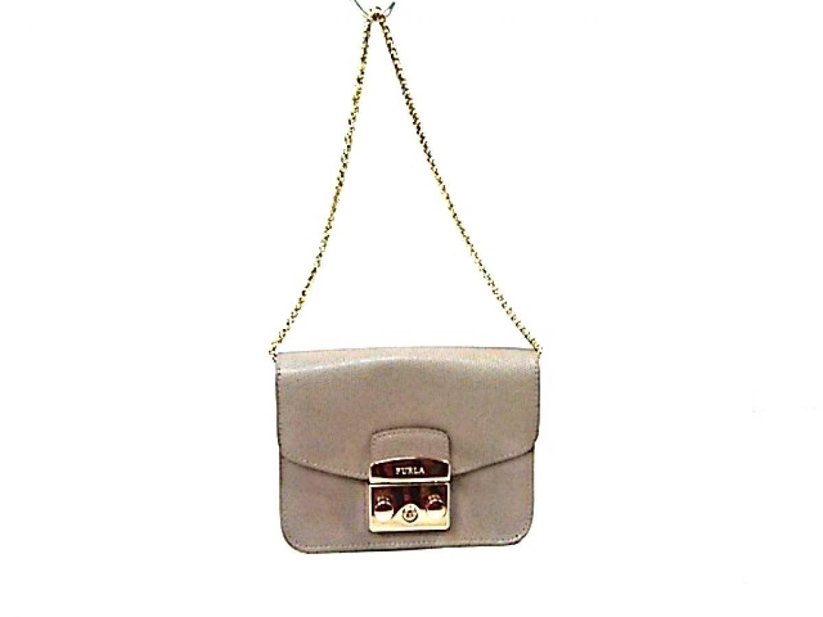 FURLA(フルラ) ショルダーバッグ メトロポリス ライトグレー チェーンショルダー/ゴールド金具/ミニサイズ レザー【中古】