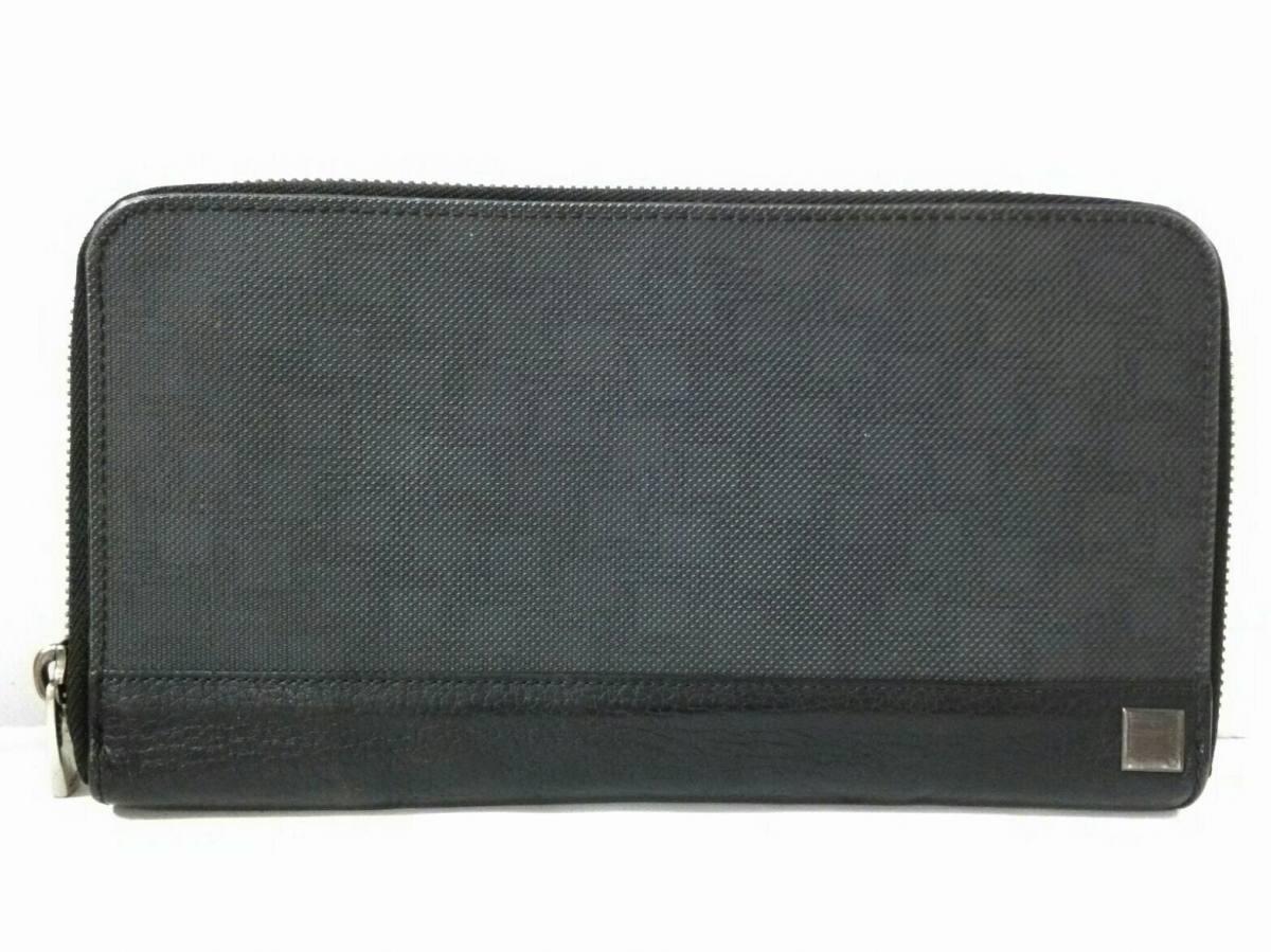 dunhill/ALFREDDUNHILL(ダンヒル) 財布 ダークグレー×黒 ラウンドファスナー PVC(塩化ビニール)×レザー【中古】