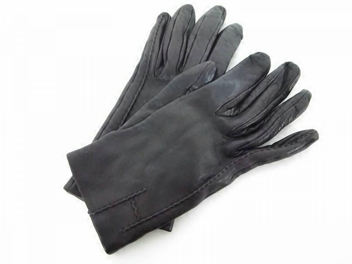 HERMES(エルメス) 手袋 7 レディース ダークブラウン レザー【中古】