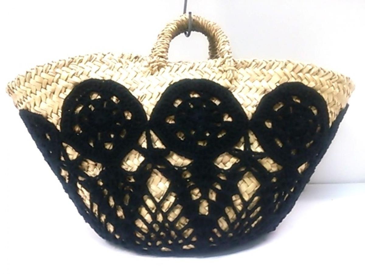 DOLCE&GABBANA(ドルチェアンドガッバーナ) ハンドバッグ ベージュ×黒 かごバッグ/巾着型/タッセル クリーナ(ヤシの葉)×コットン×レザー【中古】