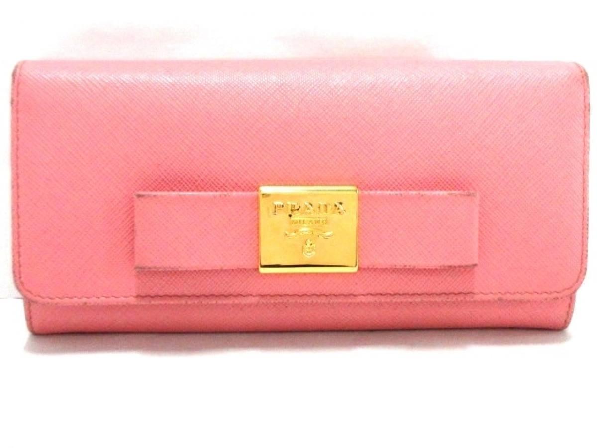 PRADA(プラダ) 長財布 - 1MH132 ピンク リボン サフィアーノレザー【中古】