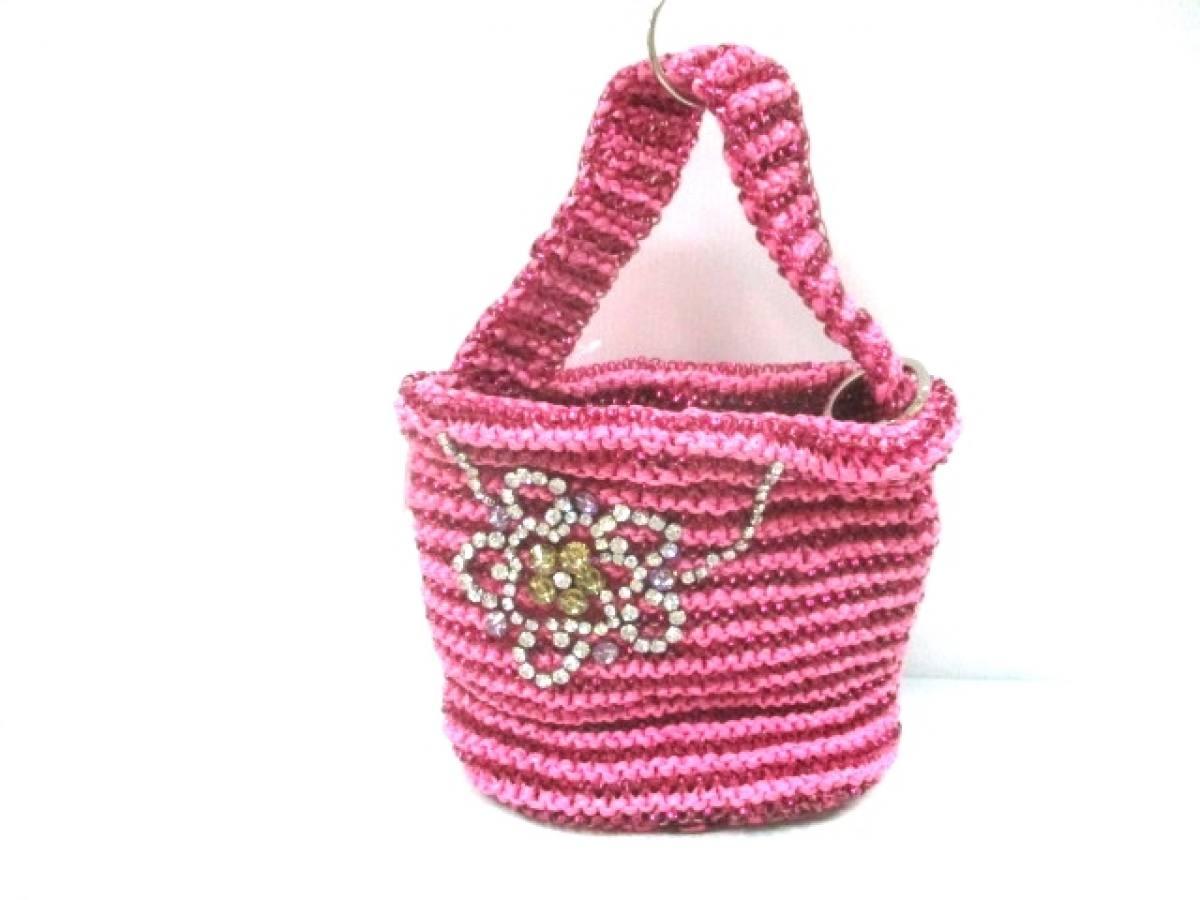 ANTEPRIMA(アンテプリマ) ハンドバッグ ワイヤーバッグ ピンク フラワー/ビジュー ワイヤー×化学繊維【中古】