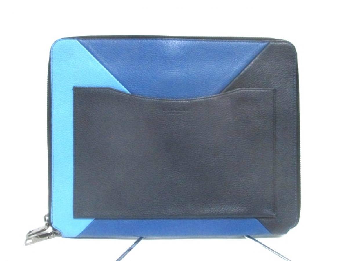 COACH(コーチ) クラッチバッグ - 65621 黒×ブルー×ライトブルー レザー【中古】