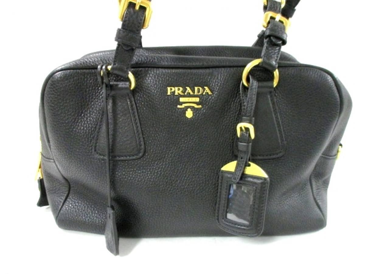PRADA(プラダ) ハンドバッグ美品■ - 黒 革タグ レザー【中古】
