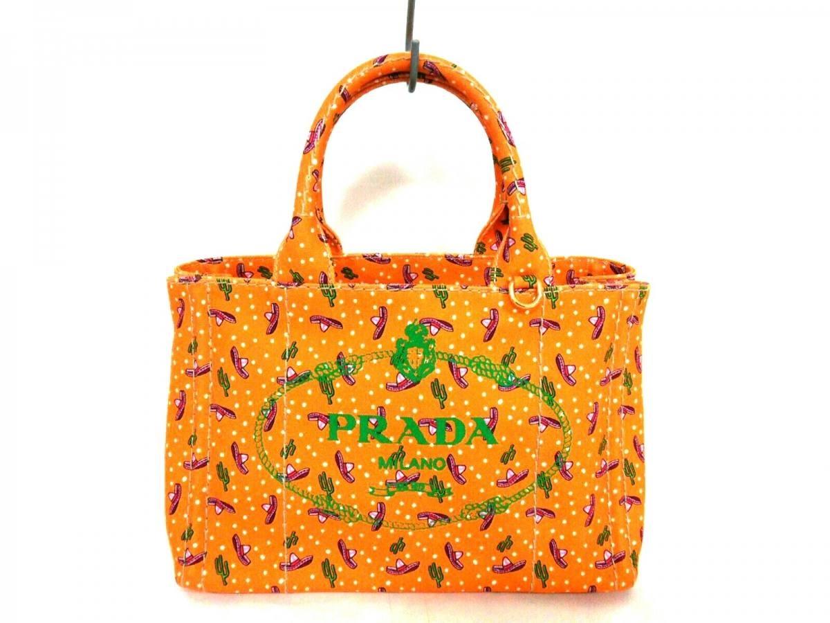 PRADA(プラダ) トートバッグ新品同様■ CANAPA オレンジ×グリーン×マルチ 革タグ キャンバス【中古】