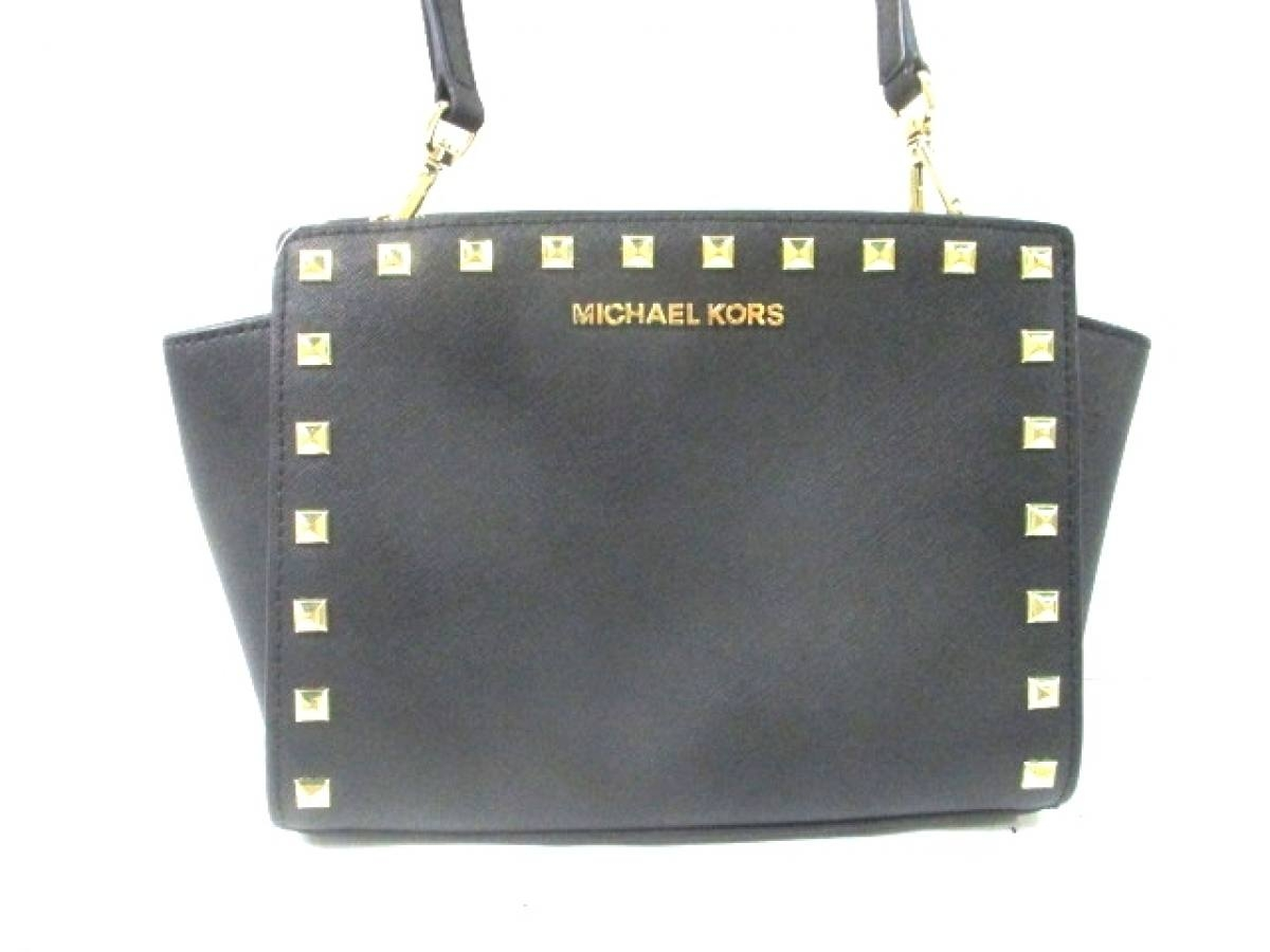 MICHAEL KORS(マイケルコース) ショルダーバッグ美品■ 黒×ゴールド スタッズ レザー【中古】