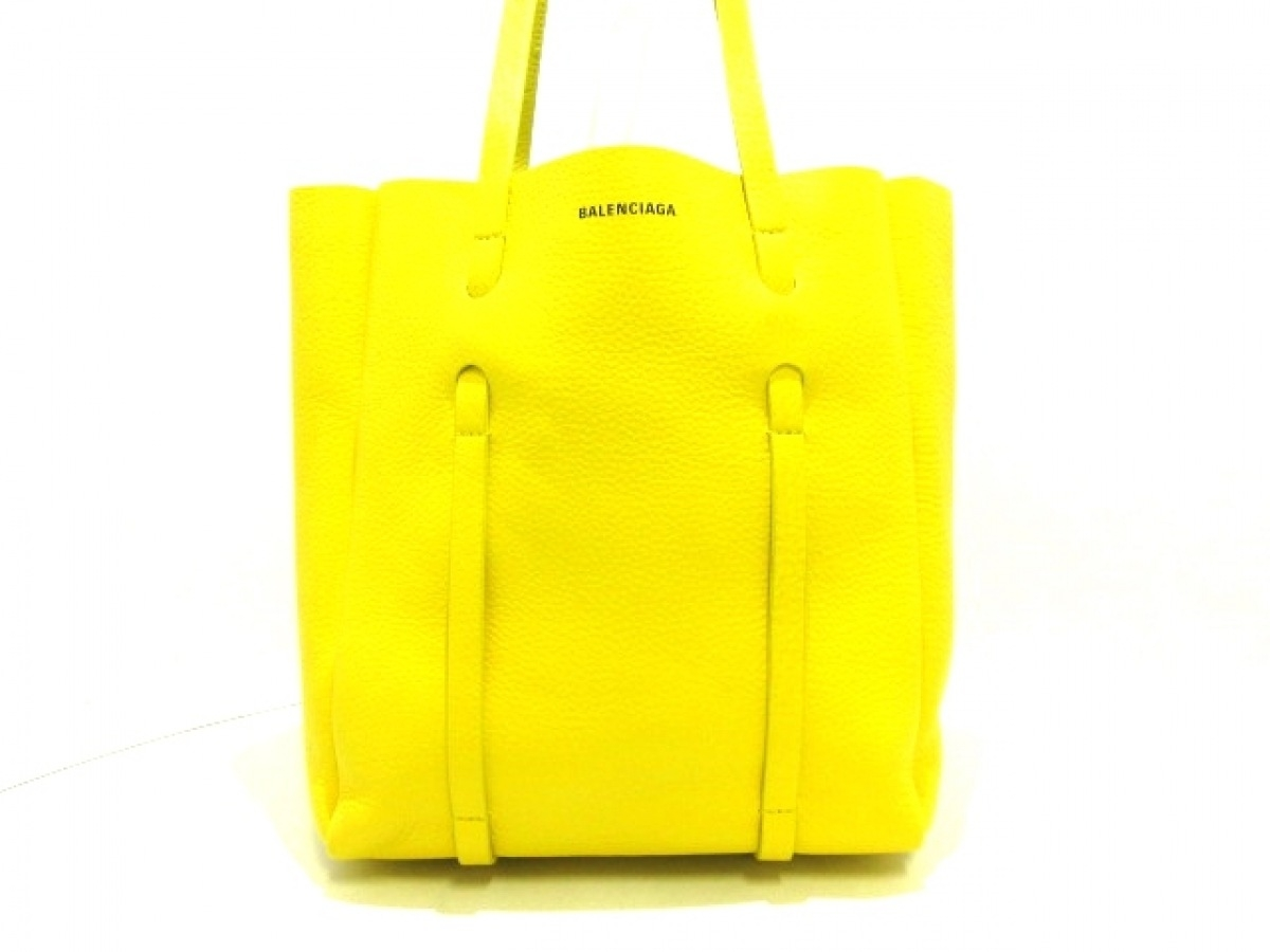 BALENCIAGA(バレンシアガ) トートバッグ美品■ エブリデイトートXS 489813 イエロー レザー【中古】