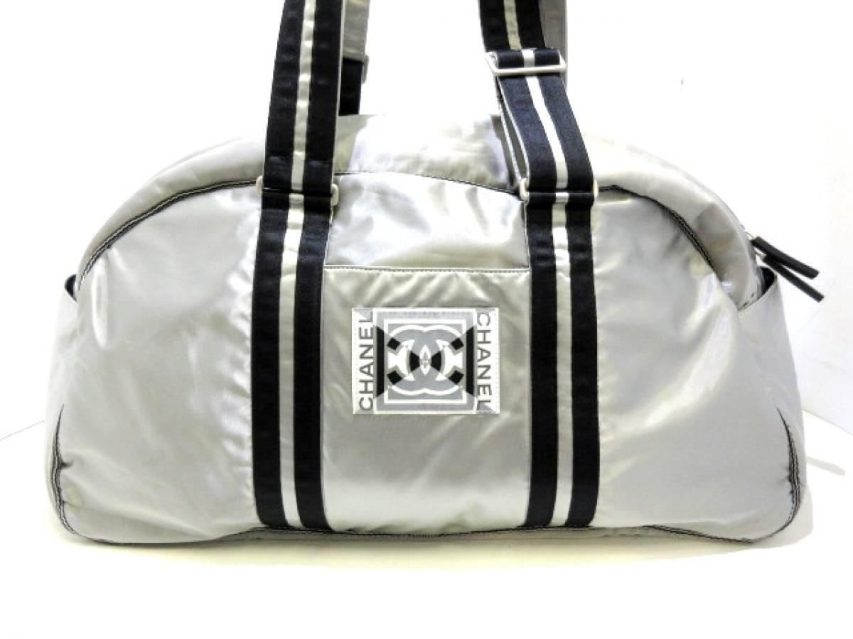 374de6b65c1d CHANEL(シャネル) ボストンバッグ スポーツライン グレー×黒×白 ココマーク ナイロン