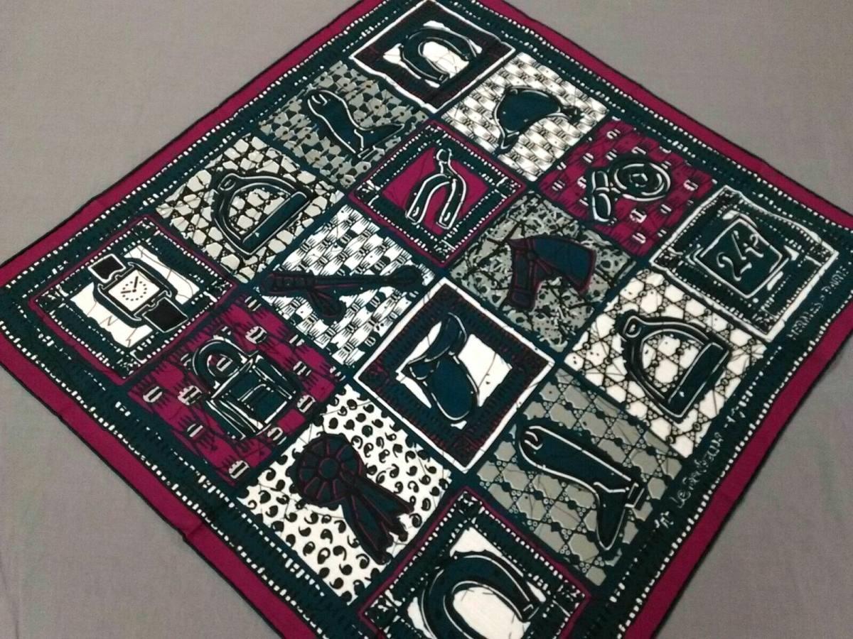 HERMES(エルメス) スカーフ新品同様■ - ネイビー×パープル×白【中古】