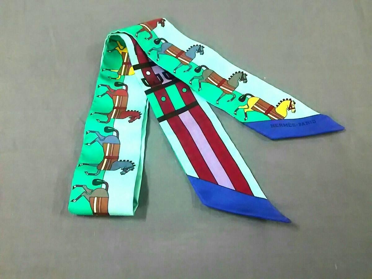 HERMES(エルメス) スカーフ美品■ ツィリー H062708S ライトグリーン×ボルドー Rocabar/2018秋冬【中古】