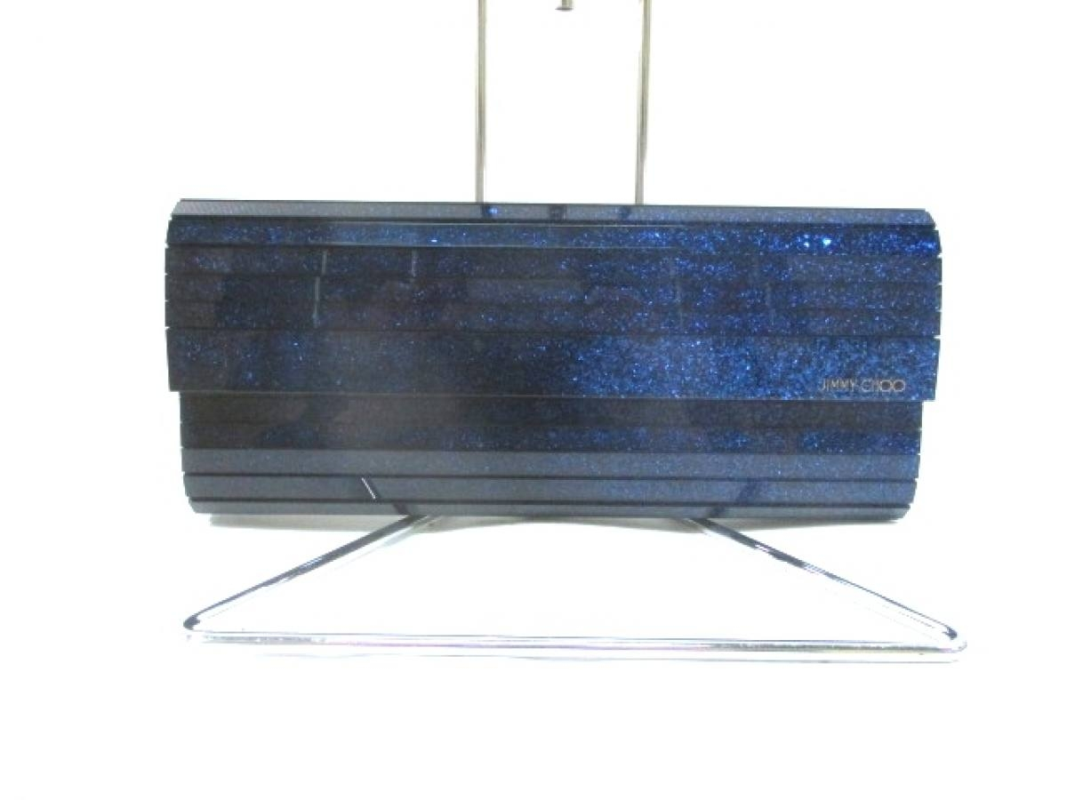 JIMMY CHOO(ジミーチュウ) クラッチバッグ美品■ - ブルー チェーンショルダー/ラメ プラスチック×金属素材【中古】