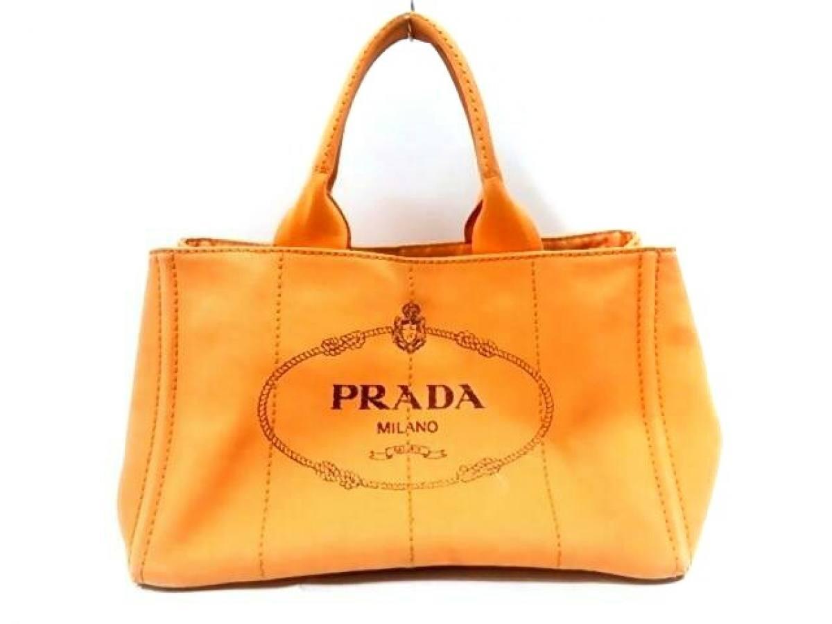 PRADA(プラダ) トートバッグ CANAPA BN2642 オレンジ キャンバス【中古】