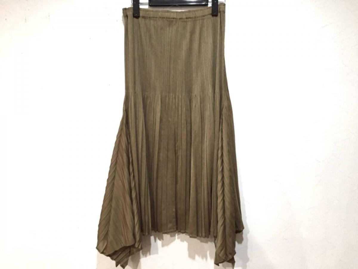 PLEATS PLEASE(プリーツプリーズ) スカート サイズ3 L レディース新品同様■ ライトブラウン プリーツ/変形デザイン【中古】