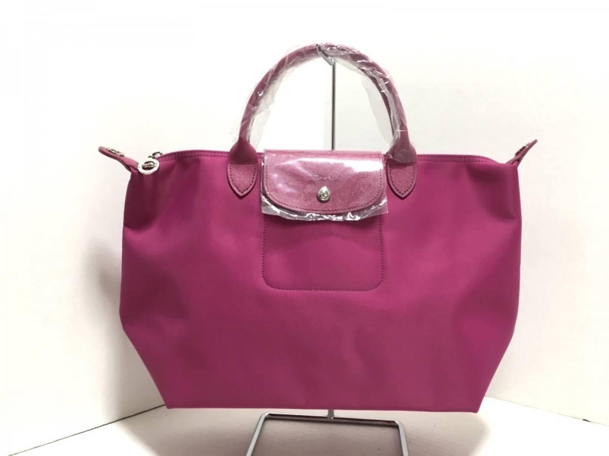 LONGCHAMP(ロンシャン) ハンドバッグ美品■ ピンク ナイロン×レザー【中古】