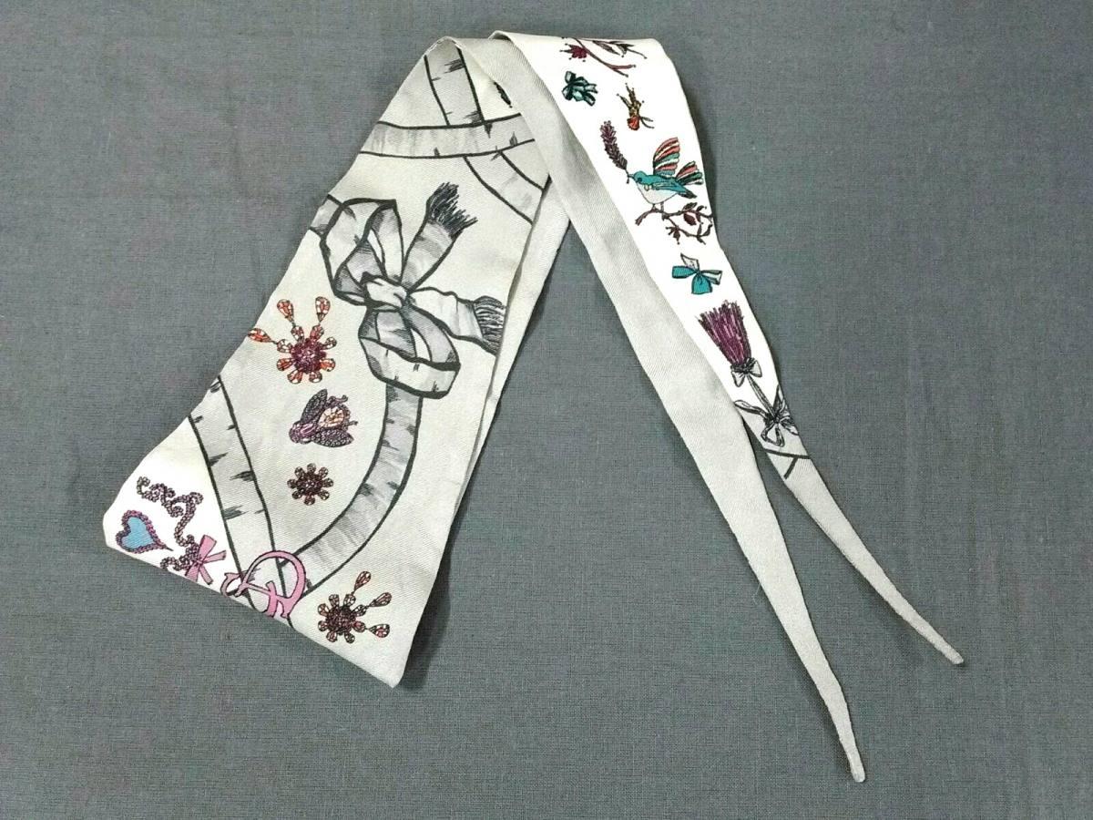 ChristianDior(クリスチャンディオール) スカーフ美品■ グレー×白×マルチ リボンスカーフ【中古】