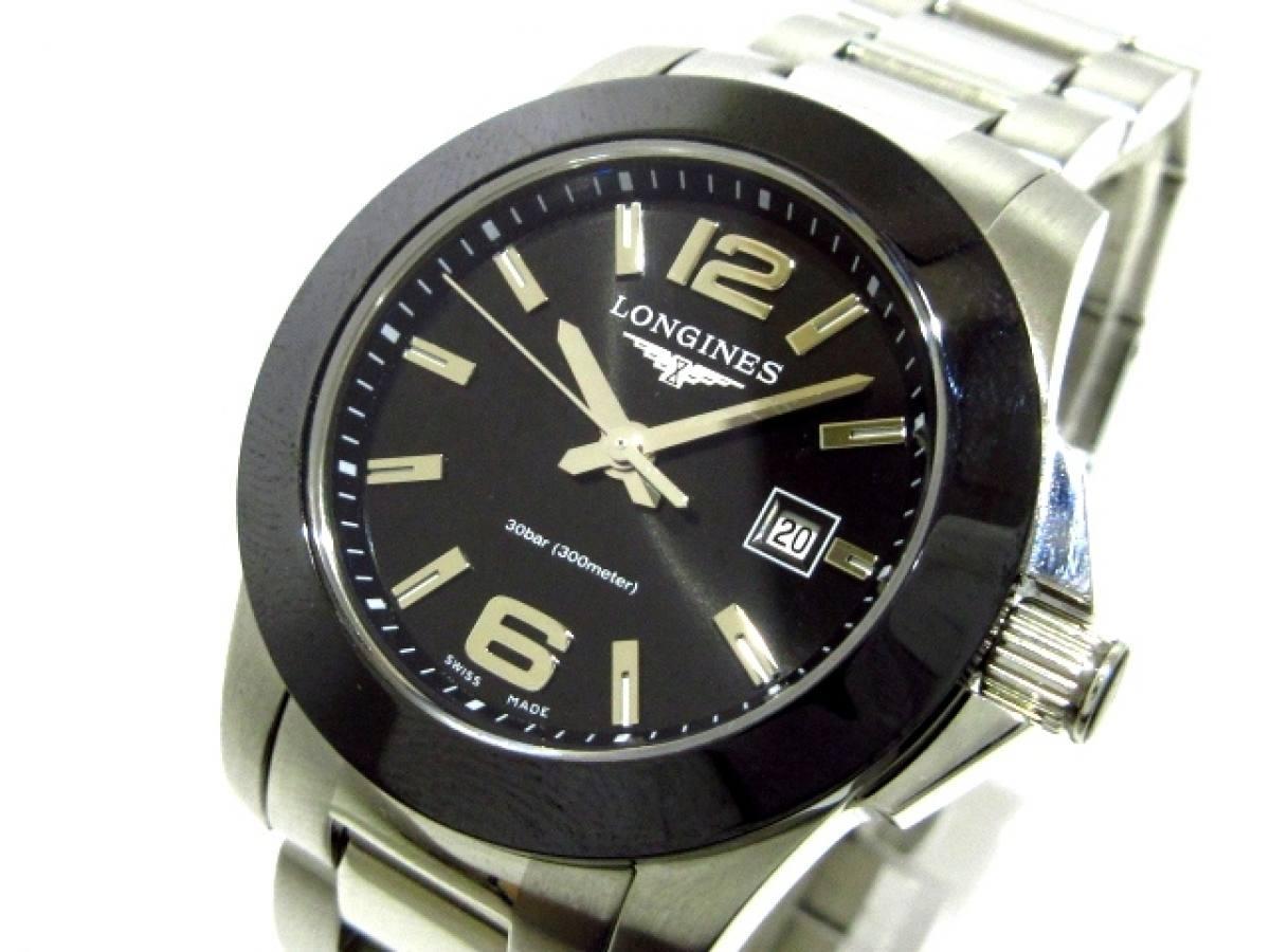 LONGINES(ロンジン) 腕時計美品■ コンクエスト L3.257.4 レディース 黒【中古】