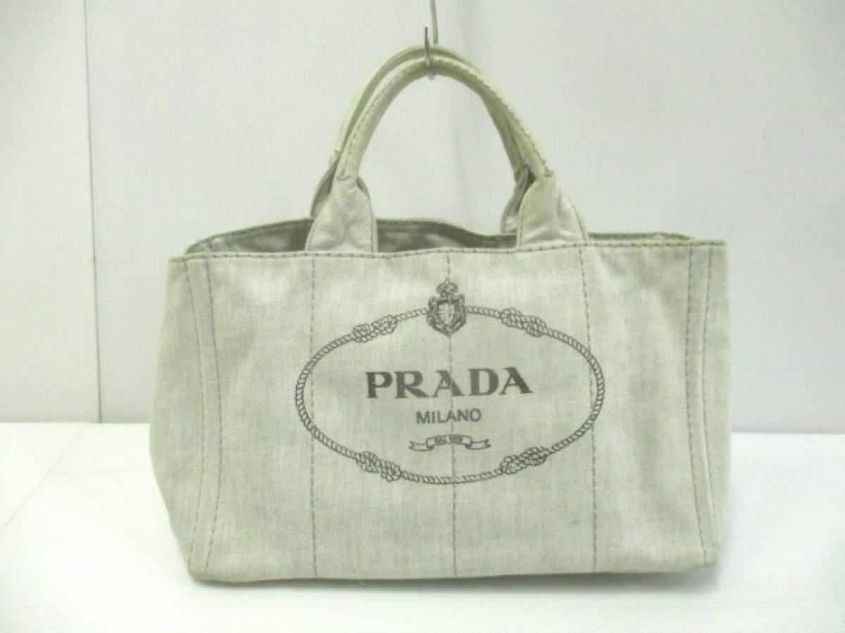 PRADA(プラダ) トートバッグ CANAPA 白×黒 デニム【中古】