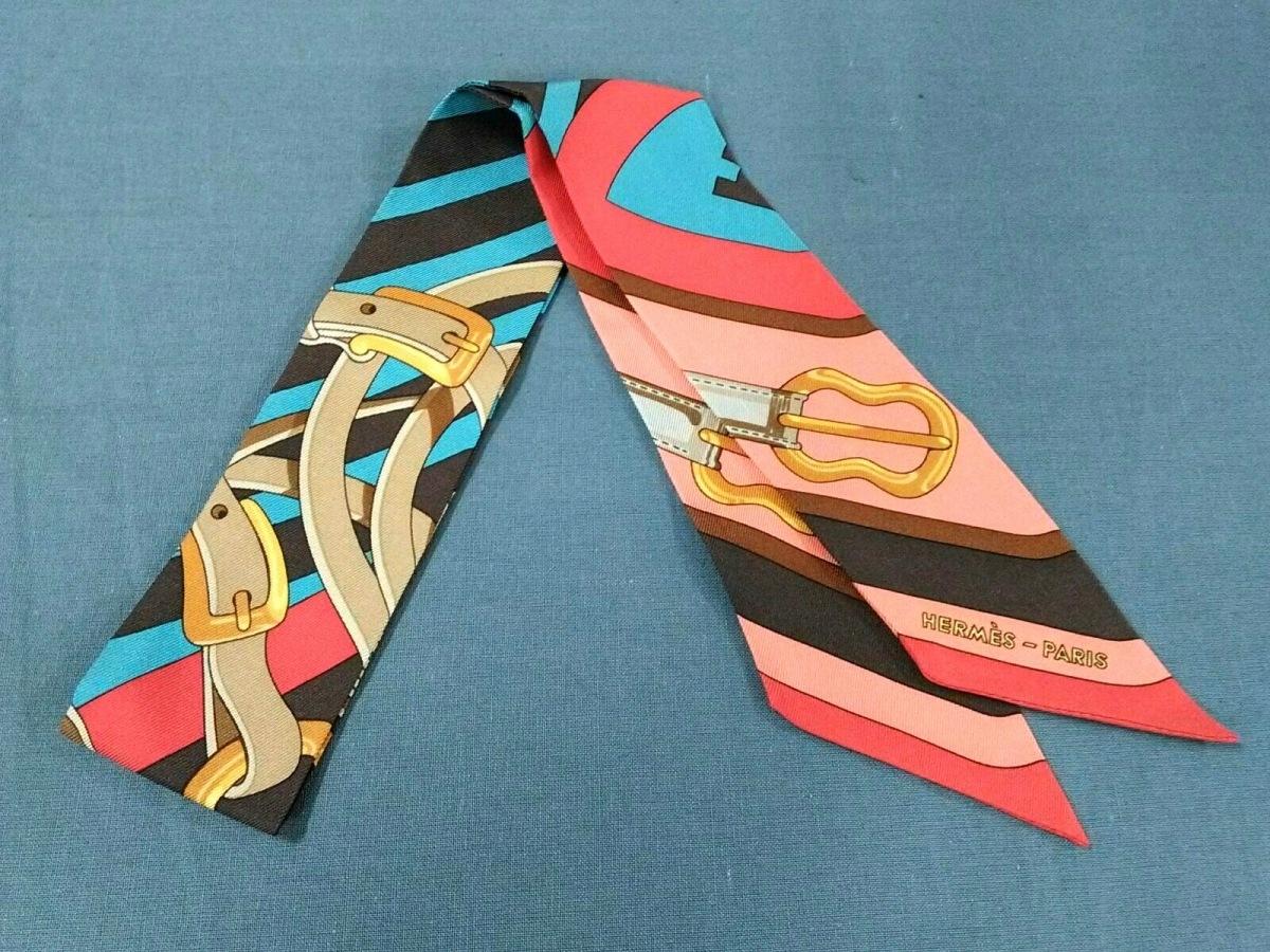 HERMES(エルメス) スカーフ美品■ ツィリー レッド×ダークブラウン×マルチ【中古】