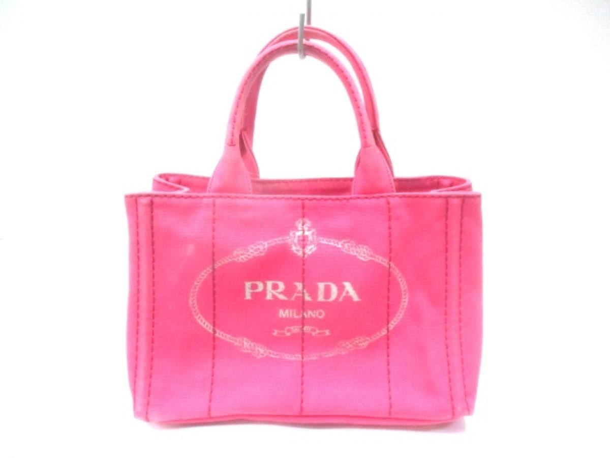 PRADA(プラダ) トートバッグ CANAPA 1BG439 ピンク×ベージュ キャンバス【中古】