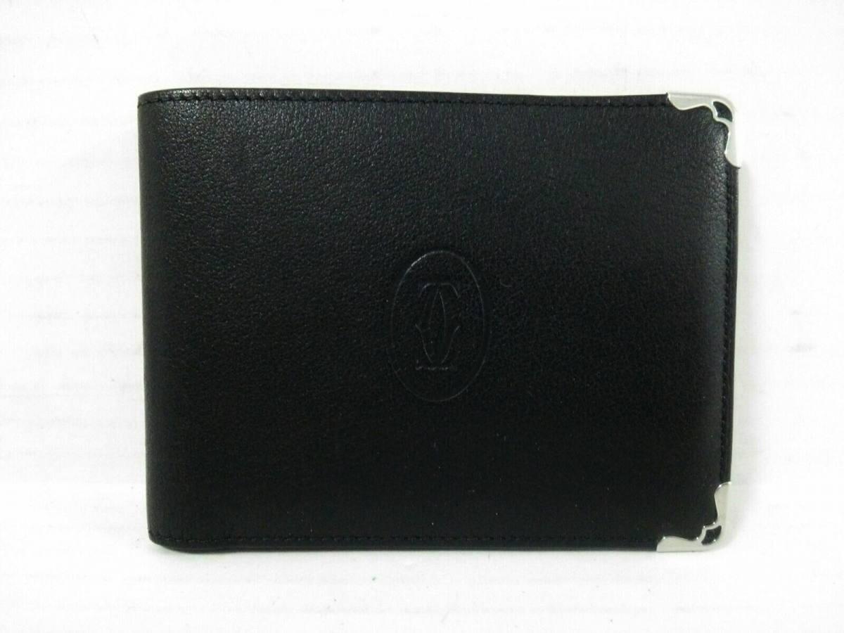 Cartier(カルティエ) 2つ折り財布 カボション 黒 レザー【中古】