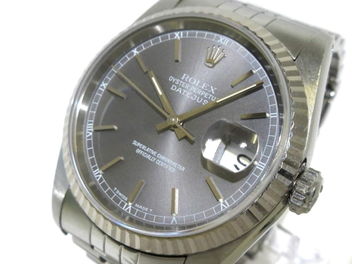 ROLEX(ロレックス) 腕時計 デイトジャスト 16234 メンズ K18WG×SS/20コマ(2コマ落ち) グレー【中古】