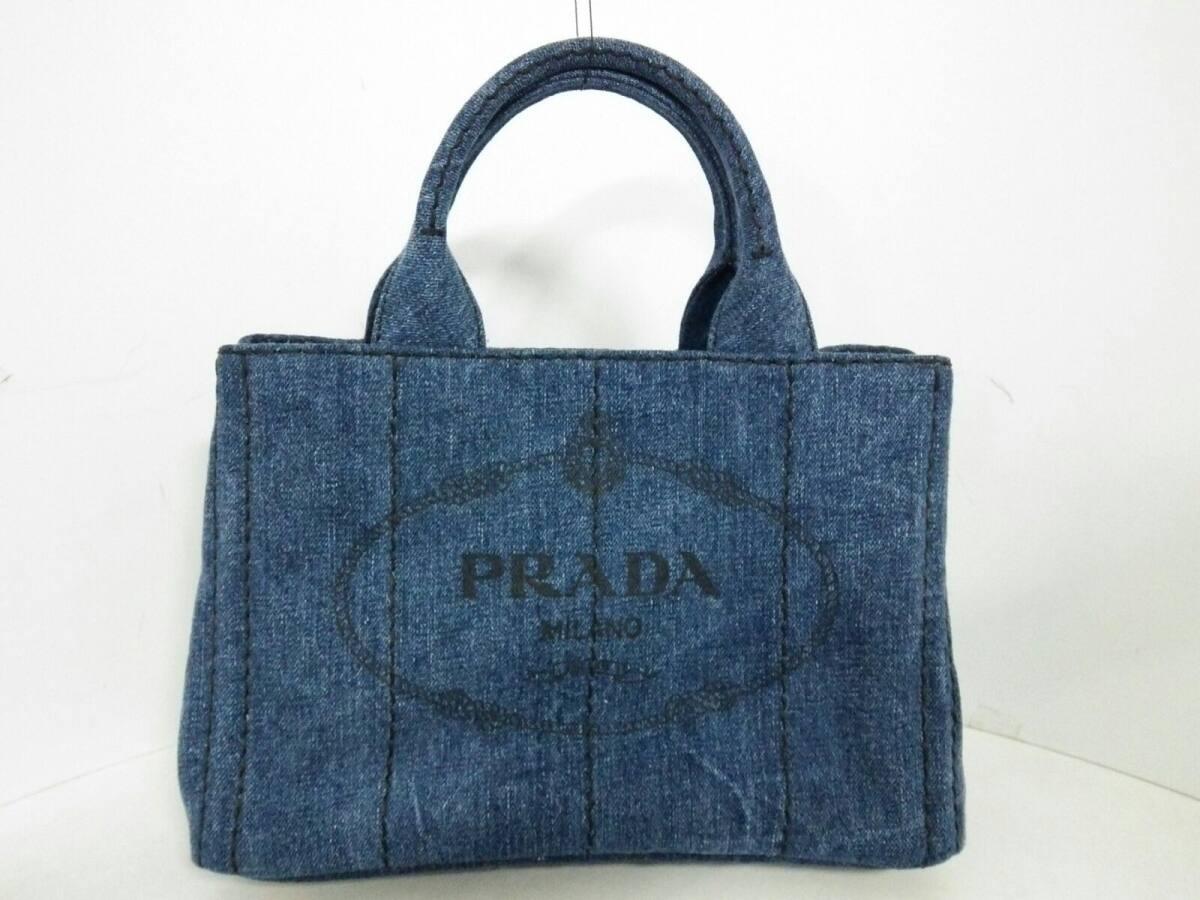 PRADA(プラダ) トートバッグ CANAPA B2439G ネイビー デニム【中古】