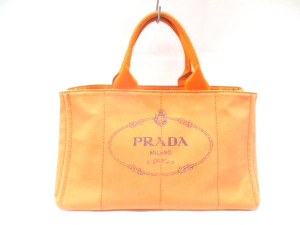 PRADA(プラダ) トートバッグ CANAPA BN1872 オレンジ キャンバス【中古】