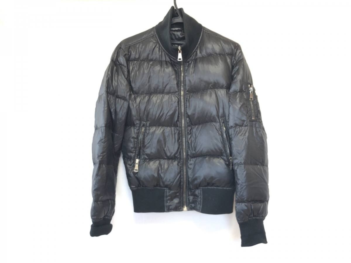 DOLCE&GABBANA(ドルチェアンドガッバーナ) ダウンジャケット サイズ44 S メンズ 黒 冬物/ジップアップ【中古】