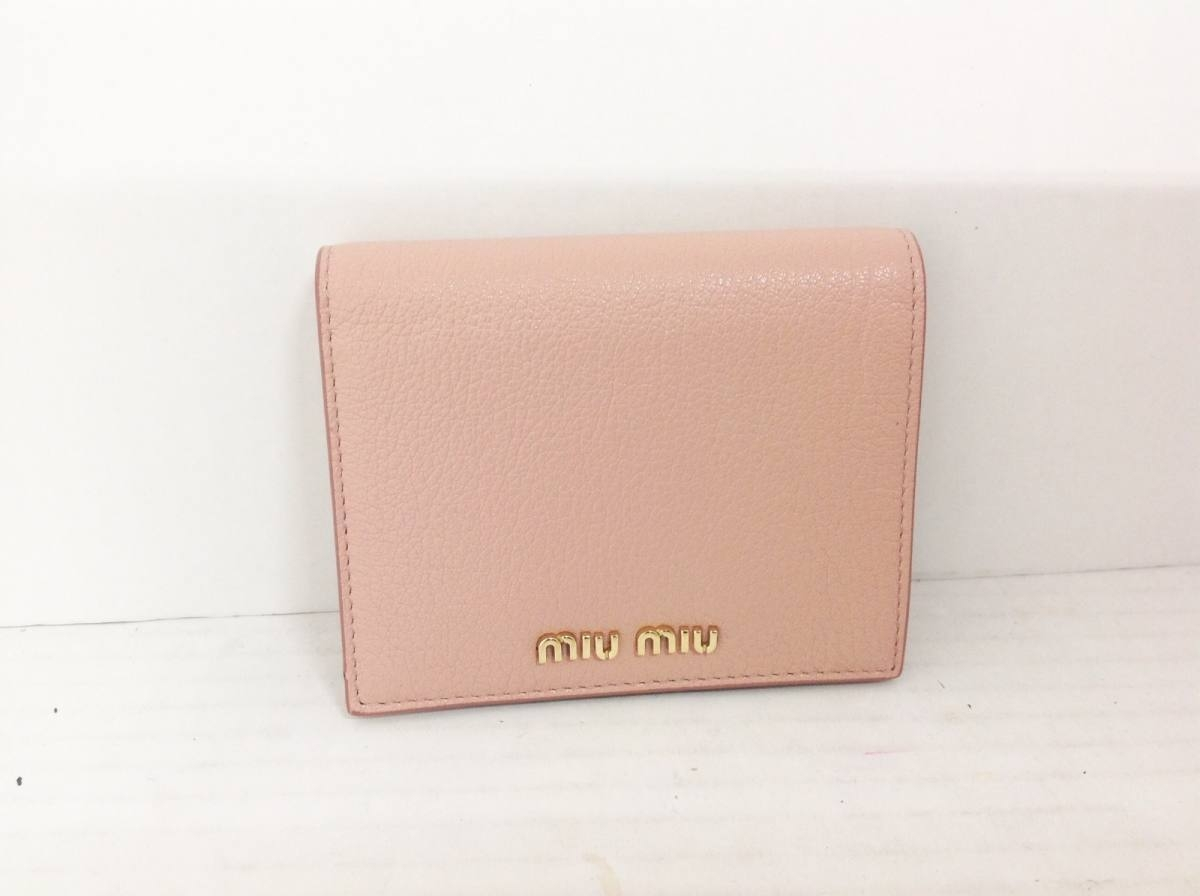 miumiu(ミュウミュウ) 2つ折り財布 - 5MV204 ピンク レザー【中古】