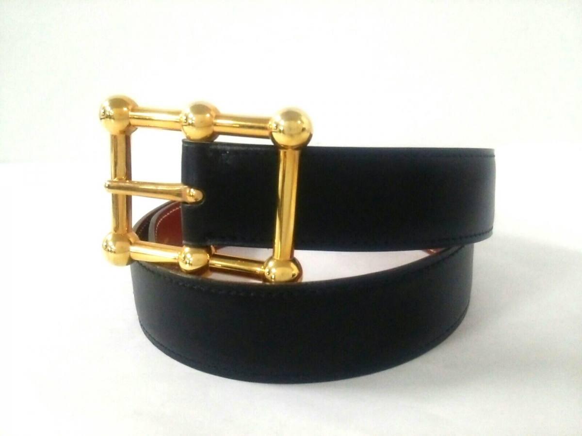 HERMES(エルメス) ベルト 黒×ゴールド ゴールド金具 レザー×金属素材【中古】