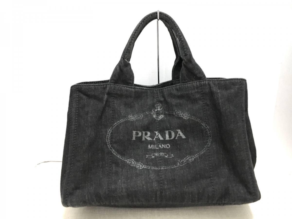 PRADA(プラダ) トートバッグ CANAPA B2642B 黒 デニム【中古】