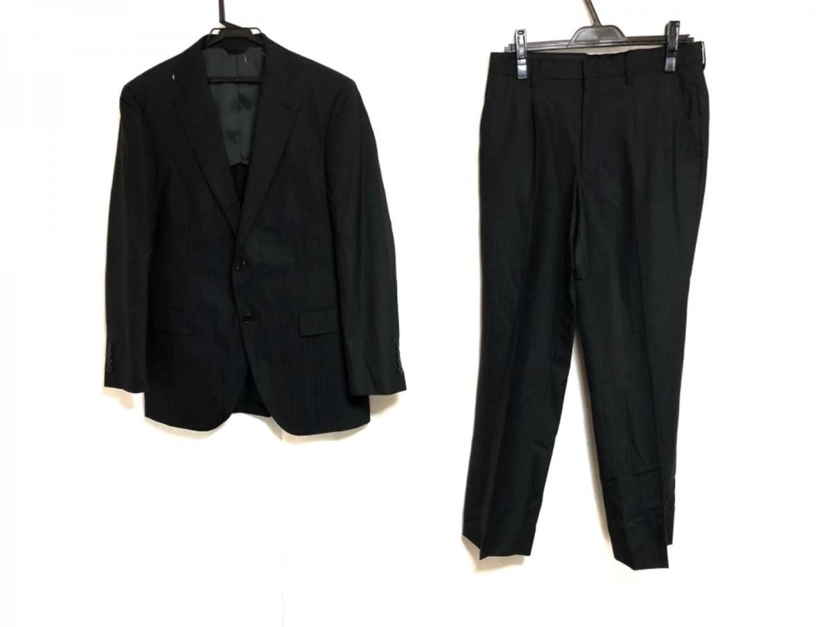 ErmenegildoZegna(ゼニア) シングルスーツ メンズ 黒×ダークグレー×ネイビー ネーム刺繍/肩パッド/ストライプ【中古】