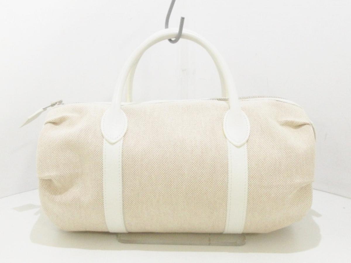 HERMES(エルメス) ハンドバッグ美品■ ポロションマドモアゼル ベージュ×白 トワルアッシュ×レザー【中古】