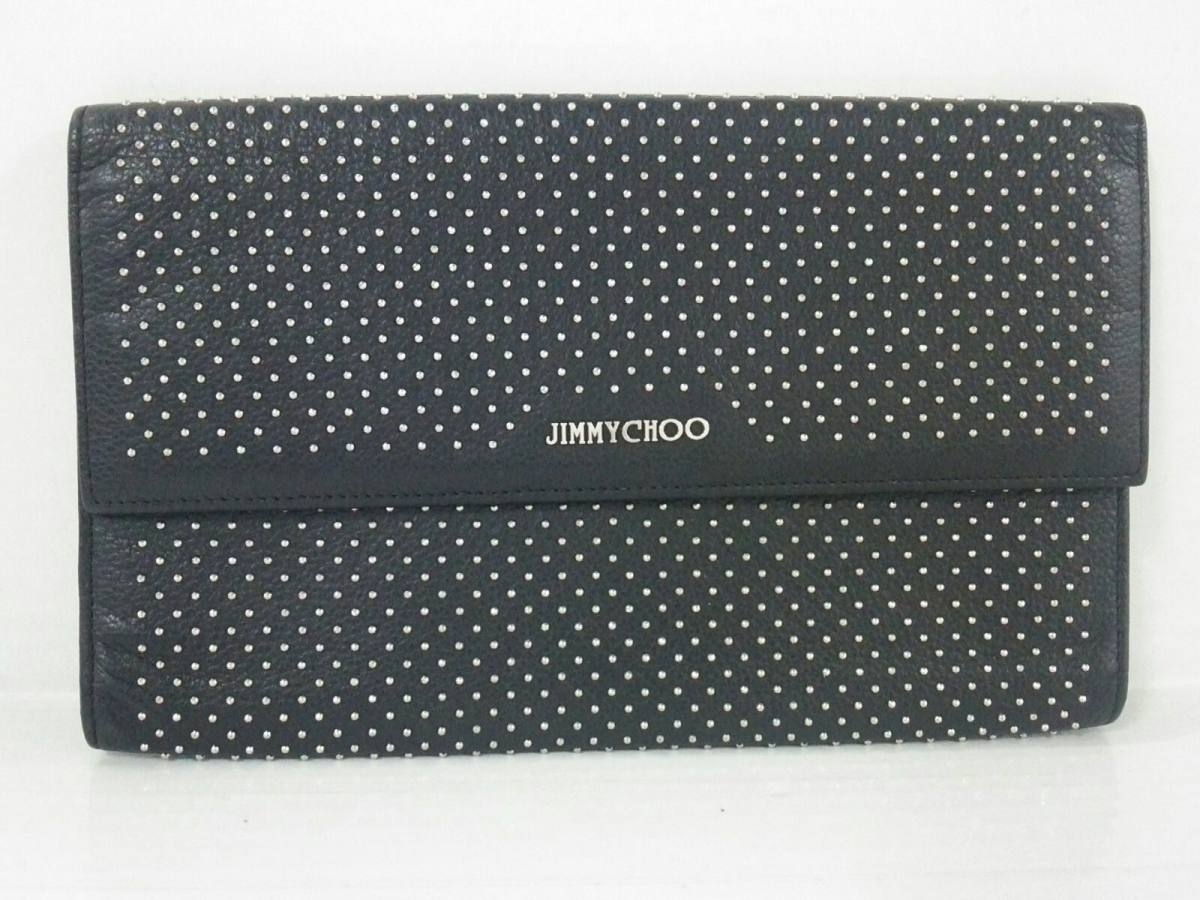 JIMMY CHOO(ジミーチュウ) クラッチバッグ - 黒 スタッズ レザー【中古】