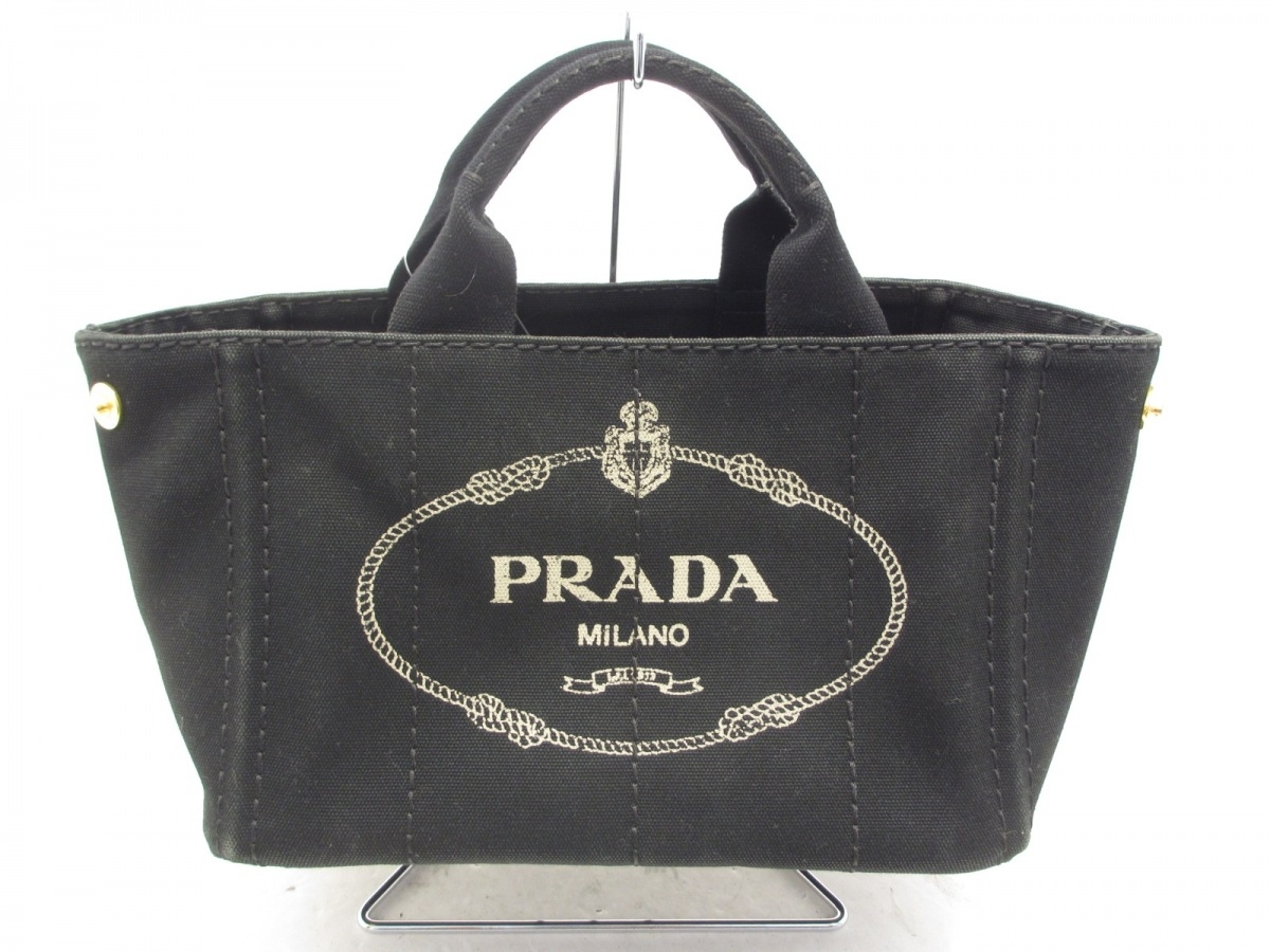 PRADA(プラダ) トートバッグ CANAPA 黒×ライトグレー キャンバス【中古】