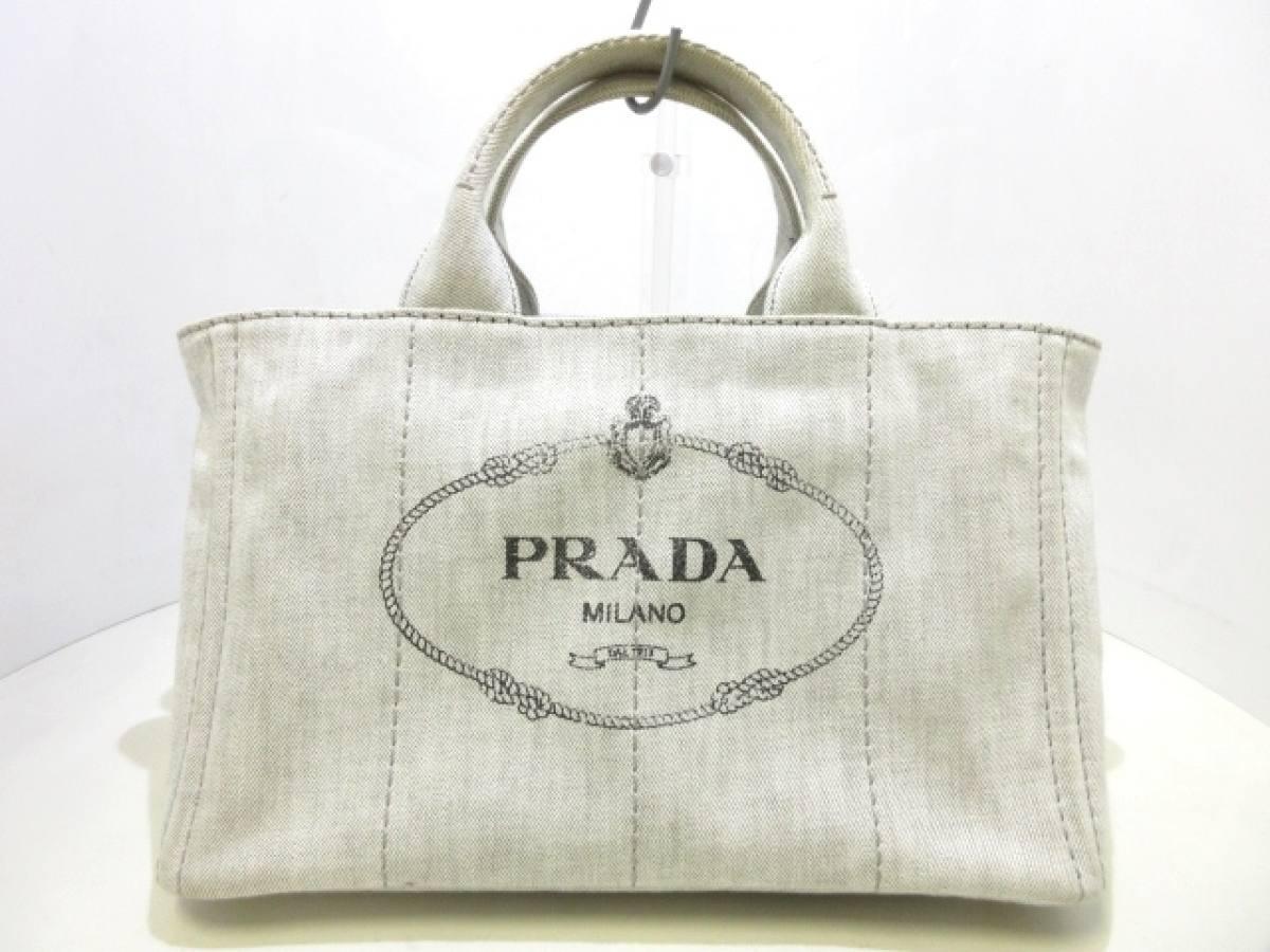 PRADA(プラダ) トートバッグ CANAPA B2642B ライトグレー デニム【中古】