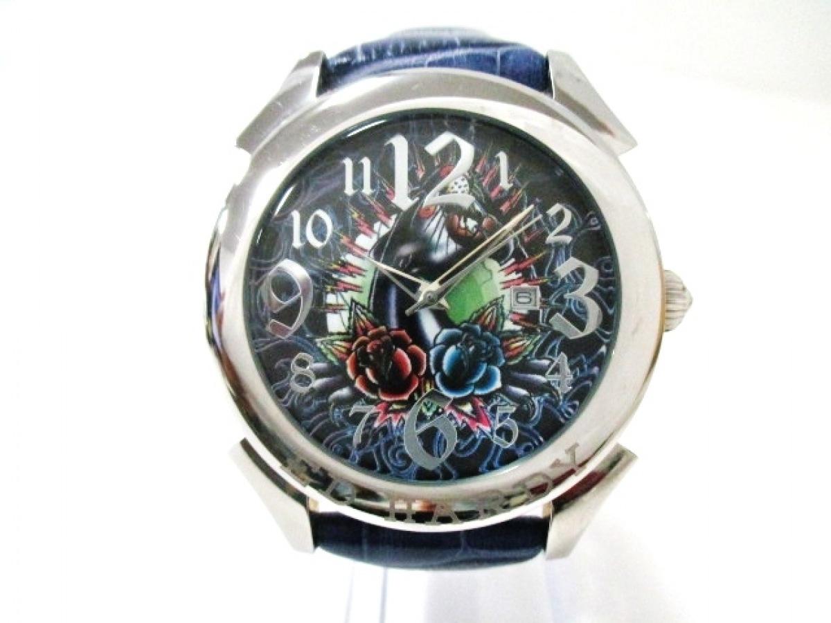 Ed Hardy(エドハーディー) 腕時計美品■ RE-PT2737 メンズ 黒×ブルー×マルチ【中古】