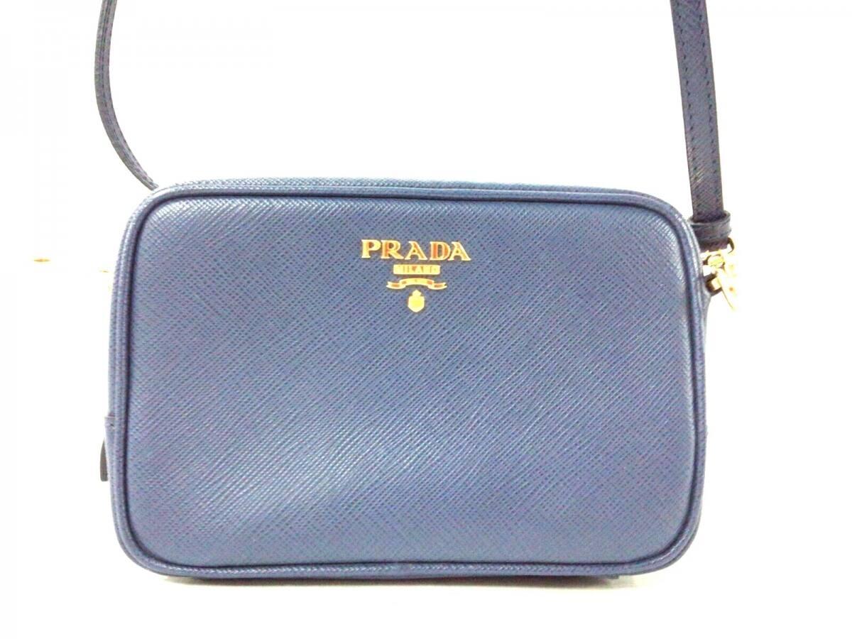 PRADA(プラダ) ショルダーバッグ美品■ - 1N1674 ブルー ミニサイズ サフィアーノレザー【中古】