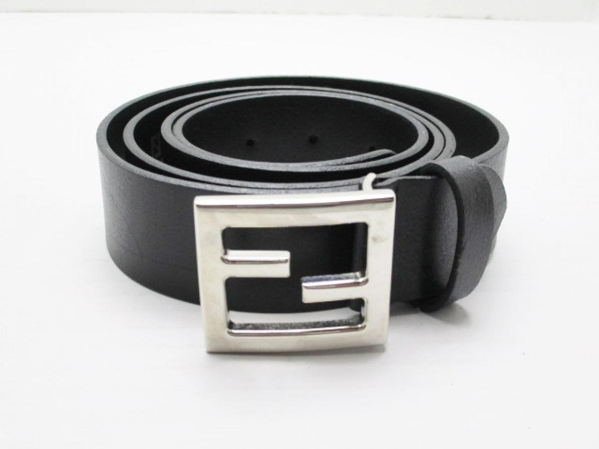 FENDI(フェンディ) ベルト 110/125 黒×シルバー レザー×金属素材【中古】
