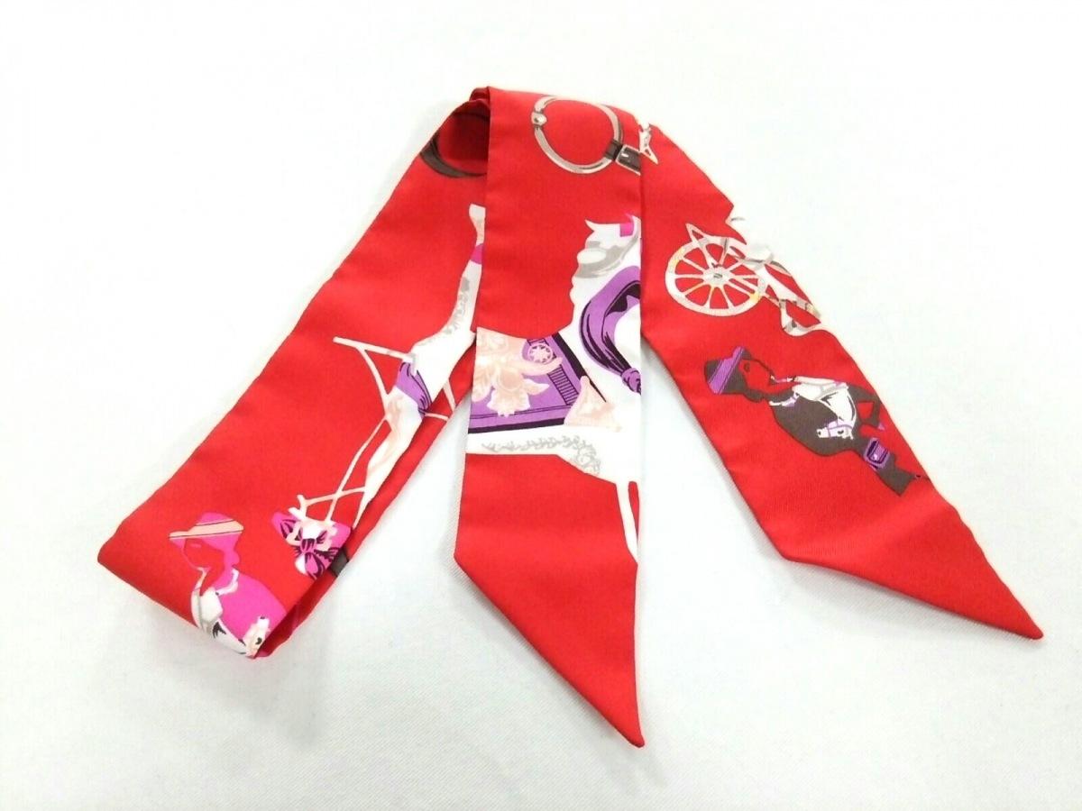 HERMES(エルメス) スカーフ美品■ ツィリー 152320S-04 レッド×白×マルチ【中古】