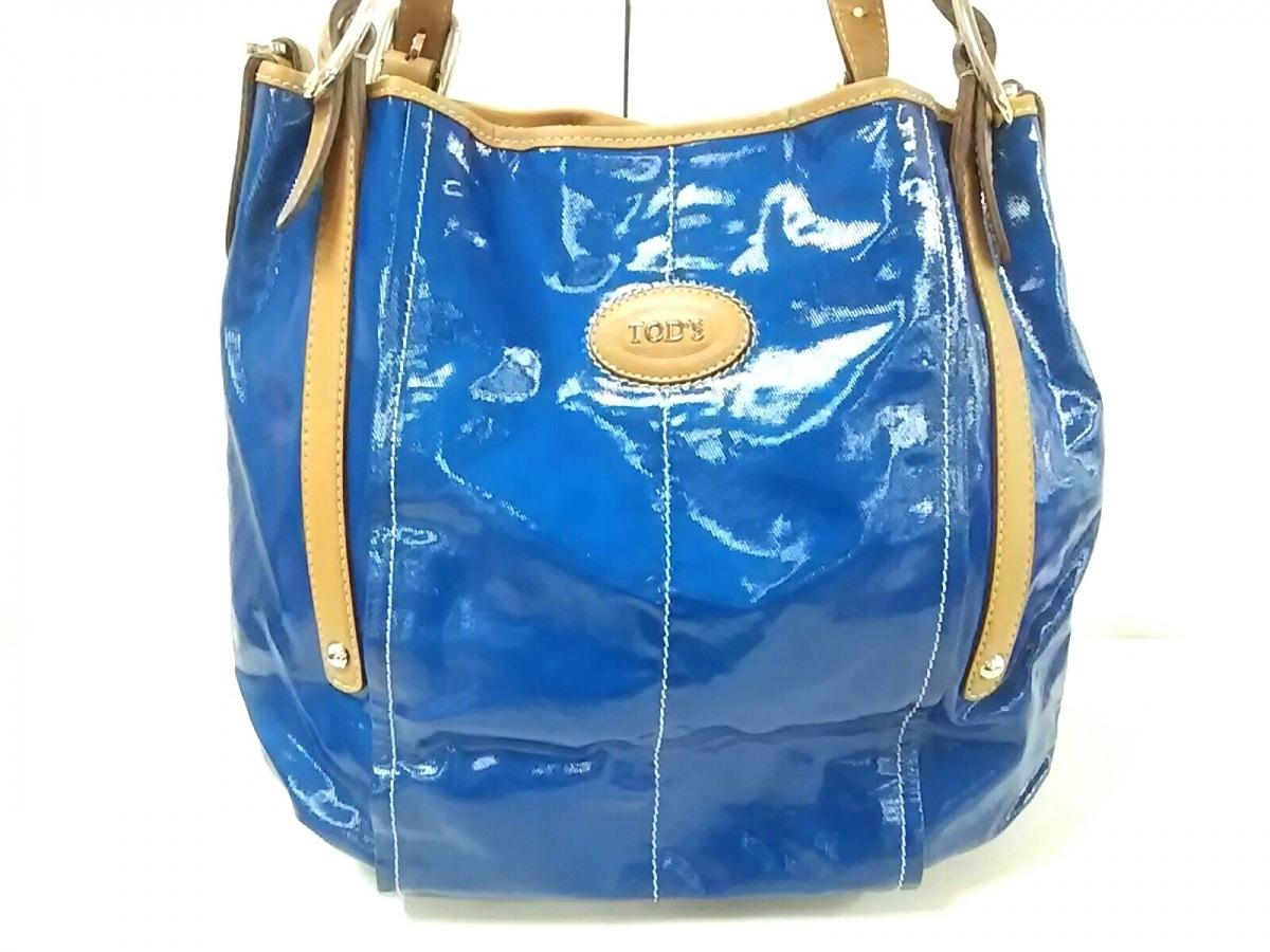 TOD'S(トッズ) ショルダーバッグ Gバッグ ブルー×ライトブラウン PVC(塩化ビニール)×レザー【中古】