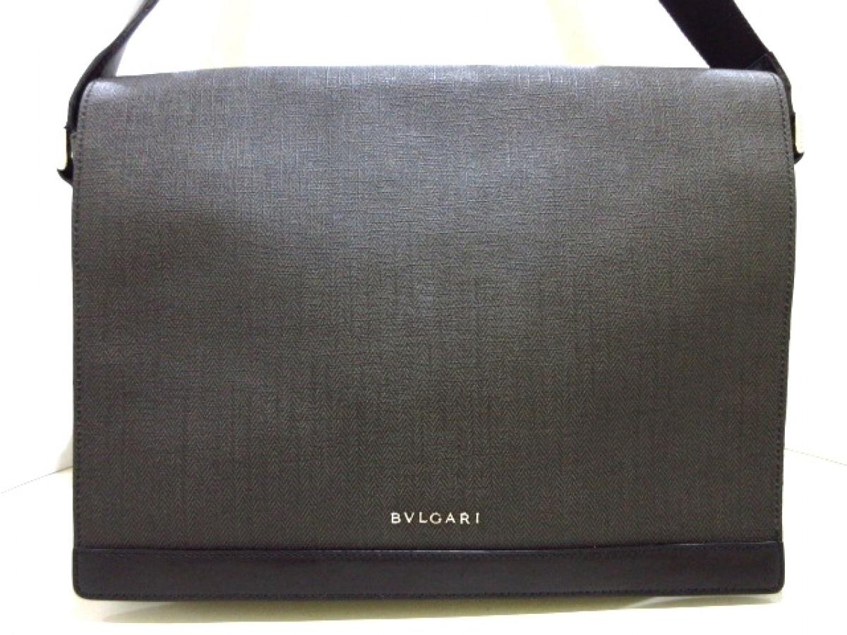 BVLGARI(ブルガリ) ショルダーバッグ美品■ ウィークエンド ダークグレー×黒 PVC(塩化ビニール)×レザー【中古】