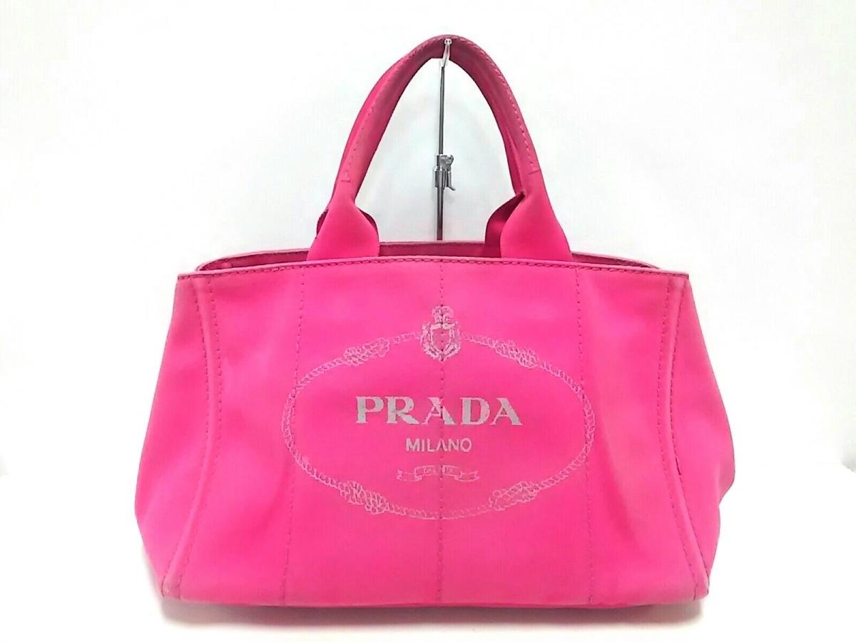 PRADA(プラダ) トートバッグ CANAPA BN1877 ピンク キャンバス【中古】