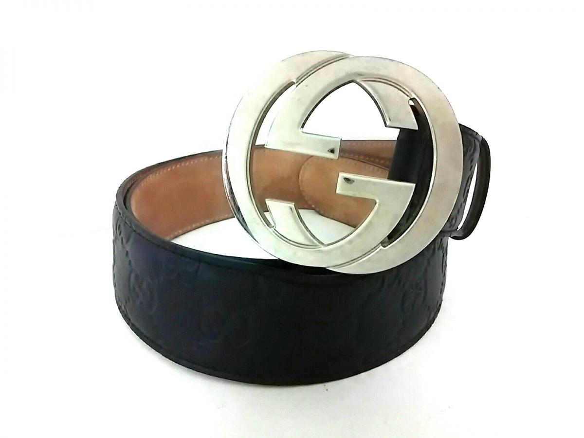 GUCCI(グッチ) ベルト シマライン/ダブルG 黒×シルバー レザー×金属素材【中古】