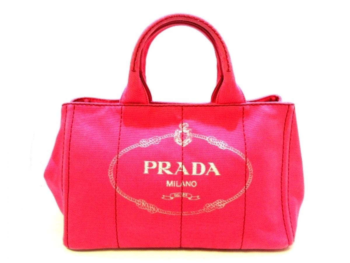 PRADA(プラダ) トートバッグ CANAPA 1BG642 ピンク キャンバス【中古】