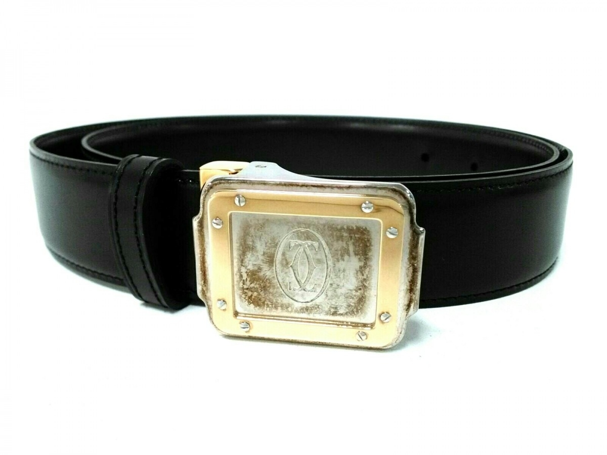 Cartier(カルティエ) ベルト 黒×シルバー×ゴールド レザー×金属素材【中古】