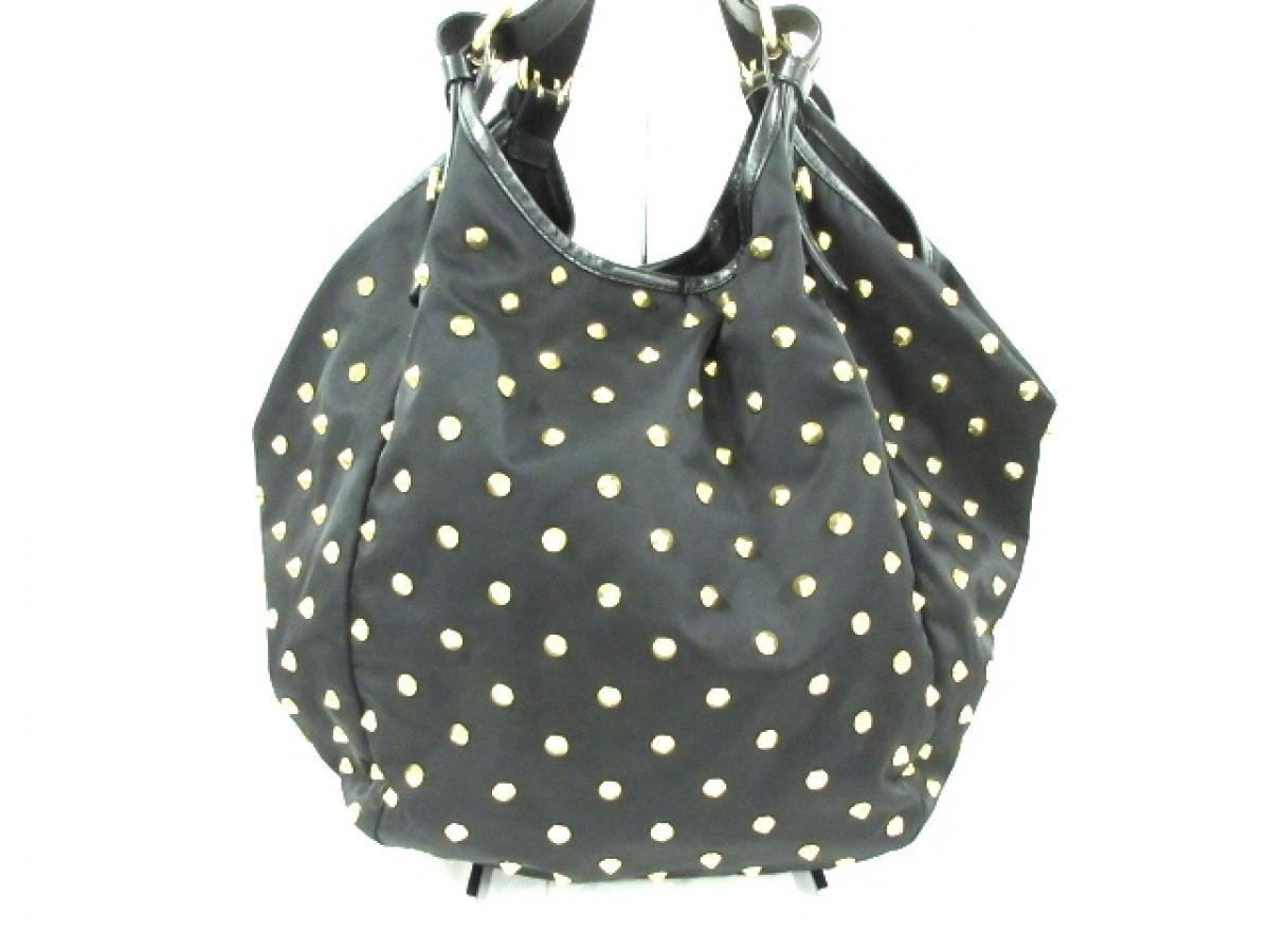 GIVENCHY(ジバンシー) ハンドバッグ美品■ - 黒×ゴールド スタッズ ナイロン×レザー×金属素材【中古】